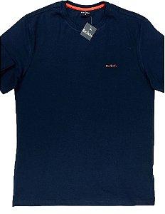 Camiseta Gola Careca Pierre Cardin - 100% Algodão - Ref 75010 Marinho