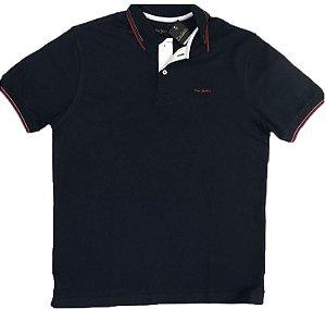 Camisa Polo Pierre Cardin Plus Size (Sem Bolso) - Manga Curta Com Punho - Malha Piquet - 100% Algodão - Ref 15702 Marinho