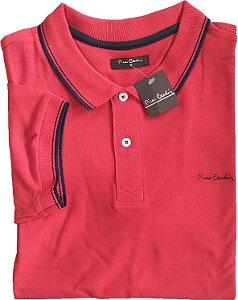 Camisa Polo Pierre Cardin (Sem Bolso) - Manga Curta Com Punho - Malha Piquet - 100% Algodão - Ref 70116 Vermelha