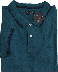 Camisa Polo Pierre Cardin (Sem Bolso) - Manga Curta Com Punho - Malha Piquet - 100% Algodão - Ref 70116 Verde