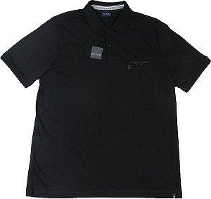 Camisa Polo Pierre Cardin (COM BOLSO PEQUENO DE BOTÃO)  - 100% Algodão - Ref. 41980 PRETA
