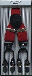 Suspensório Masculino Ponta Dupla - Vermelho - Tamanho Regulável - (LARGURA 3,50 cm)