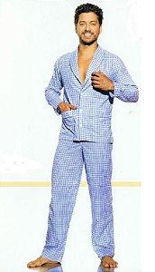 Pijama Presidente  Longo Xadrez AZUL - Tricoline / 100% Algodão