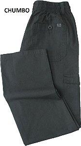 Calça de Elástico Stargriff - Com Zipper e Botão - Contém bolso lateral cargo - 100% Algodão - Ref. 832 Chumbo