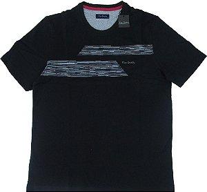 Camiseta Gola Careca Pierre Cardin  - 100% Algodão - Ref. 42025 preta