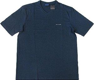 Camiseta Pierre Cardin (GOLA V) - 50% Algodão / 50% Poliester - Ref. 41400 AZUL