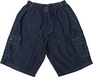 Bermuda jeans Fino Com Elástico - Stargriff - Com Zipper e Bolso Lateral Cargo - Ref.  536 STONE