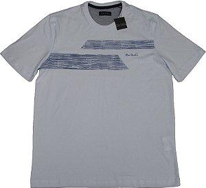 Camiseta Gola Careca Pierre Cardin  - 100% Algodão - Ref. 42025 BRANCA
