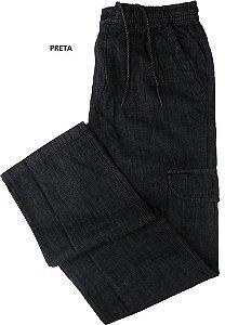 Calça Jeans Fino Com Elástico - Stargriff - Bolso Lateral - Ref. 784 Preta