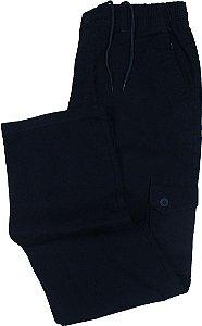 Calça de Elástico Stargriff - Com Zipper e Botão - Contém bolso lateral cargo - 100% Algodão - Ref. 832 Marinho