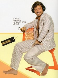 Pijama Presidente  Longo Listrado Bege - Tricoline / 100% Algodão