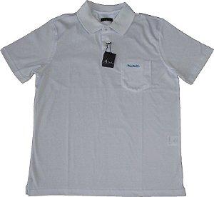 Camisa Polo Pierre Cardin Com Bolso Pequeno  - 100% Algodão (Fio de Escócia) - Ref. 10054 Branca