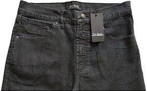 Calça Jeans Masculina Pierre Cardin Reta (Cintura Alta) - Ref. 467P017 (PRETA) - Algodão / Poliester / Elastano (Jeans Fino e Macio)