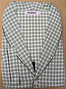 Pijama Presidente  Longo Xadrez Verde - Tricoline / 100% Algodão