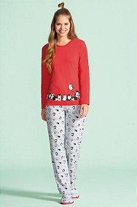 Pijama Longo Feminino - Lua Encantada - Ref. 10100002 Pinguim - 100% Algodão