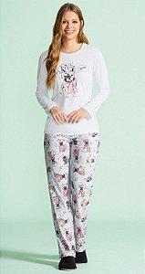 Pijama Longo Feminino - Lua Encantada - Ref. 10100024 Dog - 98% Algodão / 2% Poliester