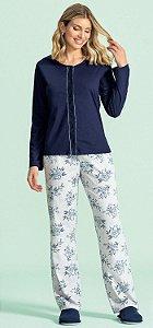 Pijama Aberto Longo Feminino - Lua Encantada - Ref. 10540001 -100% Algodão