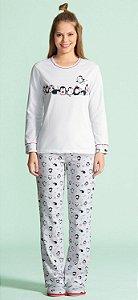 Pijama Longo Feminino (Moletinho Felpado) - Lua Encantada - Ref. 14100012 Pinguim - 67% Poliester / 33% Viscose