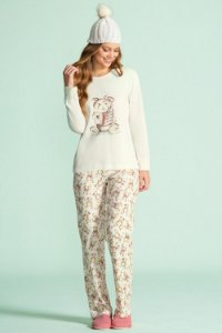 Pijama Longo Feminino (Moletinho Felpado) - Lua Encantada - Ref. 14100005 Urso - 67% Poliester / 33% Viscose