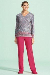 Pijama Longo Feminino - Lua Encantada - Ref. 10100056- Malha Bali