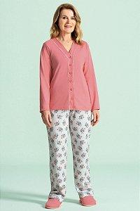 Pijama Aberto Longo Feminino - Lua Encantada - Ref. 10540002 -100% Algodão