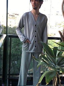 Pijama Masculino Aberto Flanelado Com Bolso - Bello Sono - Ref. 302 - Poliester / Viscose