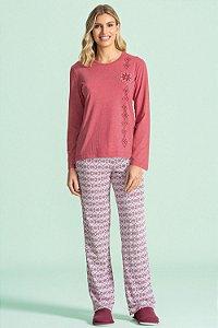 Pijama Longo Feminino Lua Encantada - Ref. 10100041 - Algodão / Poliester
