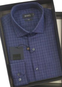 Camisa Dimarsi Com Bolso - Manga Longa - Fio 80 - 100% Algodão - Ref. 8652 Marinho