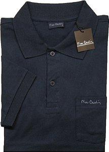 Camisa Polo Pierre Cardin Com Bolso Pequeno e Manga Curta Com Punho - 100% Algodão - Ref. 40152 Marinho