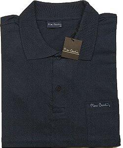 Camisa Polo Pierre Cardin Com Bolso Pequeno - 100% Algodão - Ref. 40152 Marinho