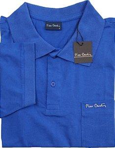 Camisa Polo Pierre Cardin Com Bolso Pequeno e Manga Curta Com Punho - 100% Algodão - Ref. 40152 Azul Royal