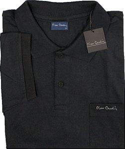 Camisa Polo Pierre Cardin Com Bolso Pequeno e Manga Curta Com Punho - 100% Algodão - Ref. 40152 Preta
