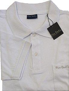 Camisa Polo Pierre Cardin Com Bolso Pequeno e Manga Curta Com Punho - 100% Algodão - Ref. 40152 Branca