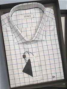 Camisa Dimarsi  - Com Bolso - Manga Curta - 100% Algodão - REF 8531 Branca Xadrez