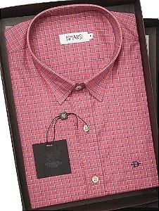 Camisa Dimarsi  - Com Bolso - Manga Curta - 100% Algodão - REF 7967 Goiaba Xadrez