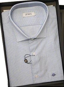 Camisa Dimarsi - Com Bolso - Manga Curta - 100% Algodão - Ref. 8629 Xadrez Azul