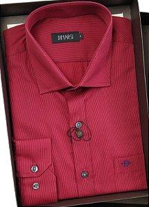 Camisa Dimarsi Com Bolso - Manga Longa  - 100% Algodão - Ref. 8252 vermelha