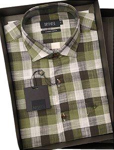 Camisa Dimarsi - Com Bolso - Manga Curta - Algodão Egípcio - Ref. 8689 Xadrez Verde