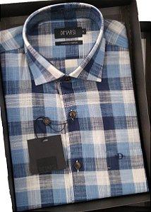 Camisa Dimarsi - Com Bolso - Manga Curta - Algodão Egípcio - Ref. 8689 Xadrez Azul