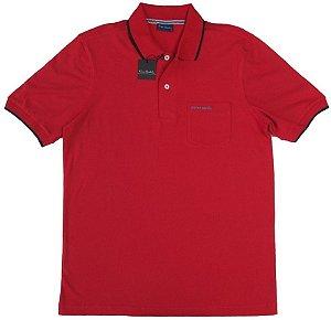 Camisa Polo Pierre Cardin Com Bolso - 100% Algodão - Ref. 40160 Vermelha