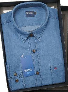 Camisa Jeans Dimarsi - Com Bolso - Manga Longa - 100% Algodão - Ref. 8726 Indigo