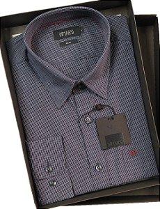 Camisa Dimarsi Com Bolso - Manga Longa  - Fio 80 - 100% Algodão - Ref. 8660AZ - Xadrez