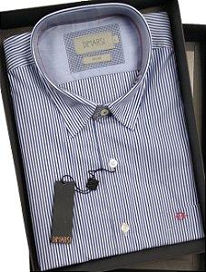 Camisa Dimarsi - Com Bolso - Manga Curta - Fio 80 - 100% Algodão - Ref. 6949AZM - Listrada