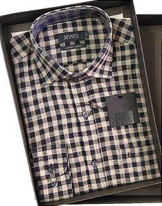 Camisa Dimarsi - Com Bolso - Manga Longa - Algodão Egípcio - Ref. 8694 Xadrez