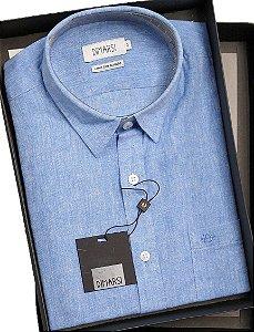 Camisa Dimarsi - Com Bolso - Manga Curta - Linho / Algodão - Ref. 0967 Azul