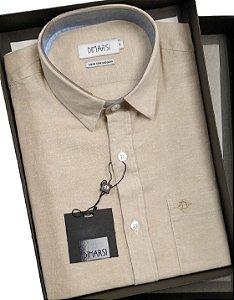 Camisa Dimarsi - Com Bolso - Manga Curta - Linho / Algodão - Ref. 0967 Bege