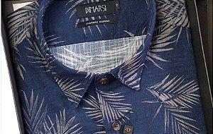 Camisa Dimarsi - Sem Bolso - Manga Longa - Algodão Egípcio - Ref. 8720 Marinho