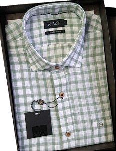 Camisa Dimarsi - Com Bolso - Manga Curta - Algodão Egípcio - Ref. 8907 Verde Xadrez