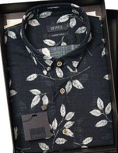 Camisa Floral Dimarsi - Sem Bolso - Manga Curta - Algodão Egípcio - Ref. 8805 preta
