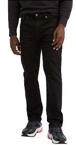 Calça Jeans Levis Masculina - Ref. 502-0001 Regular Taper Preta - Boca Fina - Algodão / Elastano